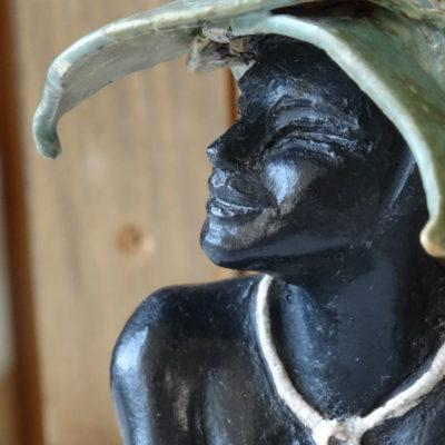 sculpture, terre cuites, émaillée et patinée