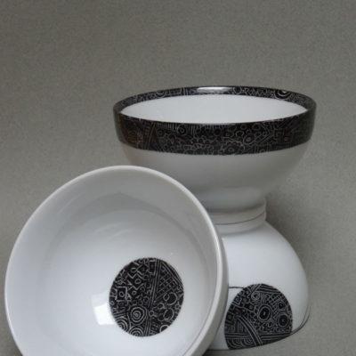 Bols a café,Bulles graphiques noires sur fond blanc