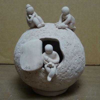 sculpture boule et enfants, cours adulte